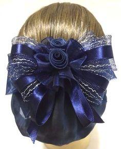 Diamante Shiny Satin Ribbon Mesh Bun Net ballet style Bridesmaid Prom