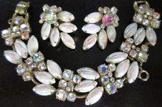 JULIANA Gorgeous AB White Milk Glass & Rhinestone Bracelet Earring Set