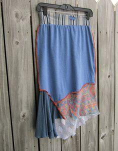 Sale Blue AZTEC cotton upcycled skirt/ pastel /asymmetrical hemline/ knee length/ ECO gypsy hippie boho clothing