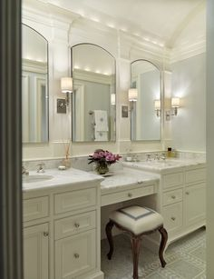 Jan Gleysteen Architects - Master bathroom with pale blue walls paint color, twin white ...