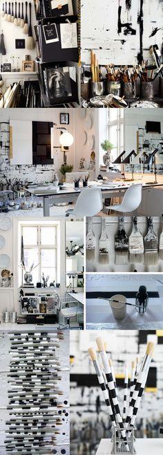 Paintbrush and Craft organization Ambient Loft Interior Design, Home Design Decor, Interior Styling, House Design, Workspace Inspiration, Creative Inspiration, Danish People, Art Spaces, Art Studio At Home