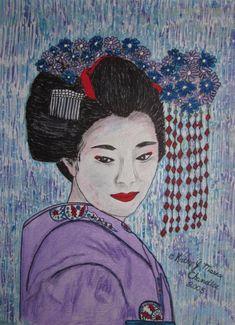 Geisha GIrl Watercolor Print 11 X 15 by Kathy Marrs Chandler Girly Drawings, Easy Drawings, Art For Kids Hub, Painting Of Girl, Painting Art, Online Drawing, Girl Sketch, Drawing Artist, Affordable Art