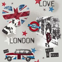 London Love Red / Blue wallpaper by Galerie