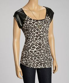 Take a look at this Brown Leopard Cap-Sleeve Top by Live to be Spoiled on #zulily today!
