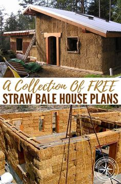 A Collection Of FREE Straw Bale House Plans — Straw bale houses are a cheaper option to normal constructed houses, this is a great way to save lots of money and have a great insulated house once its built. Cob House Plans, House Floor Plans, Cob Building, Building A House, Green Building, Straw Bale Construction, Earth Bag Homes, Earthship Home, Recycled House