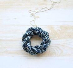 Triple infinity pendant - Bead crochet necklace - Infinity pendant - Beaded pendant - Seed beads rope - Blue pendant - Handmade necklace