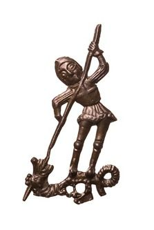 Pilgrim badge of St. George-- probably bought as a souvenir from the Chapel of St. George in Windsor. Late Medieval, 15th century