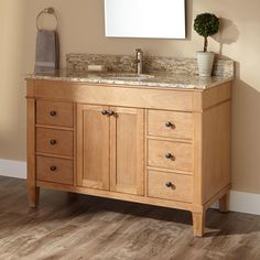 """48"""" Marilla Vanity with Undermount Sink Cream egyptian marble ? holes"""