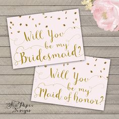 Set of Blush Pink & Gold Glitter Will you be my by SeaPaperDesigns