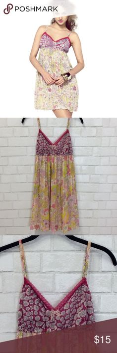 """NWOT Liberty of London nightgown Liberty of London for Target babydoll  nightgown . One Size. Elastic bust line with flowing semi-sheer pinks and yellows  floral pattern. Top has a dark pink background with pattern. Adjustable straps. Measurements approximately: bustline 28"""" laying flat without stretching ? Length from top ( excluding straps)  28""""  Polyester Libert of London for Target Intimates & Sleepwear Pajamas"""