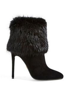 #PRADA Genuine Fur Trim Bootie