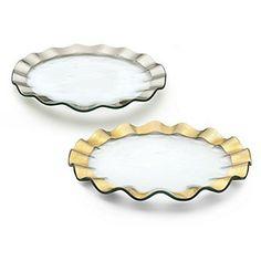 Annieglass Glass Buffet Plate Ruffle with Gold Rim Buffet Plate, Blue Fruits, Fruit Dishes, Pure Platinum, Gold Platinum, Gold Glass, Clear Glass, Cake Plates, Dessert Plates