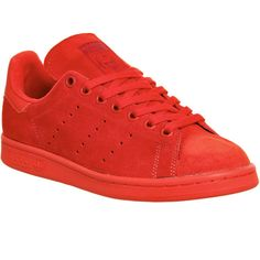 Adidas Stan Smith ($105) ❤ liked on Polyvore featuring shoes, red mono suede, trainers, unisex sports, sports footwear, tenny shoes, sports shoes, embroidered shoes and sports tennis shoes