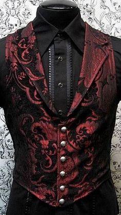 Smart Vest and Shirt. [Victorian Aristocrat Vest by Shrine Clothing Goth Steampunk Mens Jackets Geek Fashion, Fashion Night, Gothic Fashion, Victorian Mens Fashion, Style Fashion, Fashion 2016, Fashion Rings, Fashion Design, Steampunk Wedding