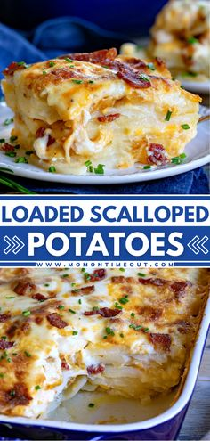 Potato Side Dishes, Vegetable Side Dishes, Potluck Side Dishes, Loaded Scalloped Potatoes Recipe, Scallop Potatoes, Cheese Scalloped Potatoes, Homemade Scalloped Potatoes, Loaded Potato, Side Dish Recipes