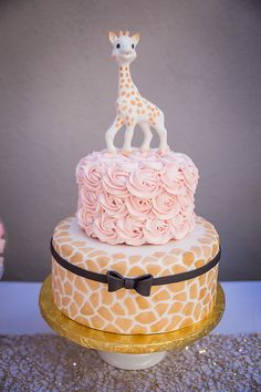 Sophie the Giraffe Cake I Paris Party I First Birthday Party I Pink Rosettes