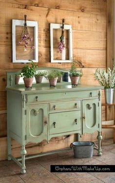 Chalk painted buffet green layered distressed furniture repurposed