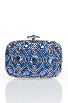 Natasha Couture Jeweled Minaudiere in Blue