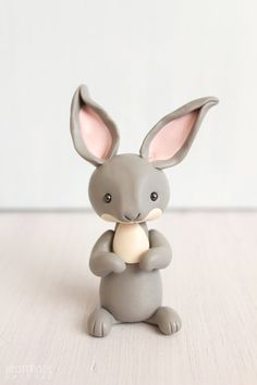 Gray Rabbit - original clay cake topper and keepsake - figurines by Heartmade Cottage