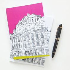 A wonderful Hot Pink Edinburgh notebook with a great illustration of the Grassmarket and Edinburgh Castle. £8
