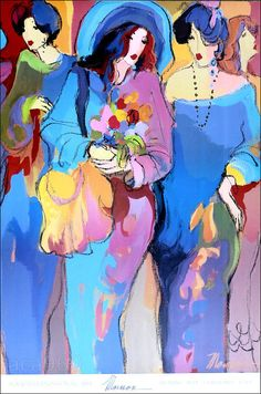 "Isaac MAIMON Fashionable Women & Flowers Fine Art Poster 36"" x 24"" #Expressionism"