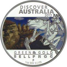 1 Dollar Silber Discover Australia 2012: Gold-Laubfrosch PP