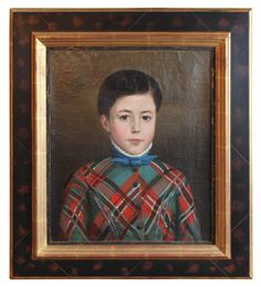 Antique Portrait of a Young Lad.  Glasgow School 19th Century Oil on Canvas