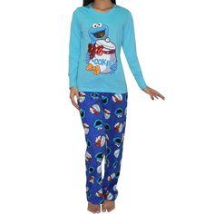 2PC SET: Sesame Street(Cookie Monster) Damen Pyjama Top & Hose 3XL Mehrfarbig: Amazon.de: Bekleidung