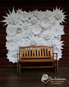 """Paper Flower Wall 6"""" X 5"""" with Embellished Flowers in White or Ivory with Pearls and Lace Included Large Back Drop for Weddings or Home"""