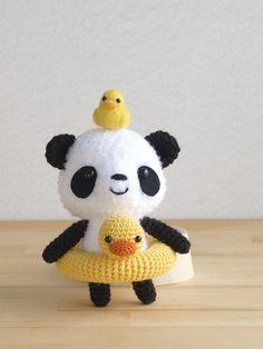 Amigurumi Panda with a Duck Floatie Crochet Panda, Crochet Teddy Bear Pattern, Kawaii Crochet, Crochet Bear, Crochet Toys Patterns, Cute Crochet, Amigurumi Patterns, Crochet Crafts, Crochet Dolls