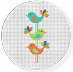 Punto De Cruz Name: 'Embroidery : Bird Stack Cross Stitch Pattern - Cross Stitch Bird, Cross Stitch Animals, Cross Stitch Designs, Cross Stitching, Cross Stitch Embroidery, Hand Embroidery, Embroidery Patterns, Cross Stitch Pattern Maker, Cross Stitch Patterns