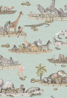 This unique Zambezi Wallpaper forms part of Cole & Son's Ardmore Collection and features watercolour images of boats filled with animals floating gently down the Zambezi River in Zimbabwe.