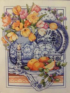 Blue and white Kooler cross stitch kit produced by Bucilla - Willow Ware design - 14 count intermediate by KindredClassics on Etsy Willow Pattern, Counted Cross Stitch Kits, Hobbies And Crafts, Craft Gifts, Cross Stitch Patterns, Vintage World Maps, Blue And White, Embroidery, Classic