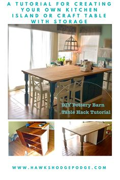 A complete tutorial using furniture pieces from Craig's List and butcher block from IKEA to make your very own Pottery Barnesque kitchen island or craft table with storage.