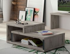 Table basse contemporaine couleur chêne gris AURILLAC