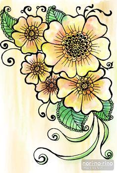 花を主にモチーフとした線画のイラストです。