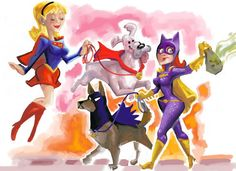 Krypto 'n Ace by Victor Roa, this was inspired after walking my sister's dog and Amanda Conner's Supergirl comics.