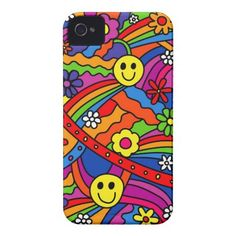 #Smiley Face #Rainbow and Flower Hippy Pattern #Iphone 4 Case-mate Case $44.95