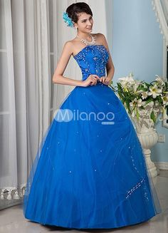Royal Blue Beading Strapless Tulle Satin Prom Dress. See More Strapless at http://www.ourgreatshop.com/Strapless-C950.aspx