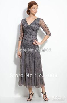 2014 Promotion Limited Reference Images Vintage Mother of The Bride Dresses Tulle Beading V Neck Eblow Sleeve Tea Length 515389