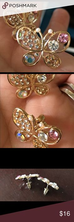 Butterfly earrings Gold butterfly earrings. Various color gems inside wings and two Tiny pearls on top of antennae. Jewelry Earrings