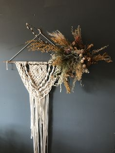 Loved creating this wall hanging with dried flowers. Dried Flower Wreaths, Floral Wreaths, Dried Flowers, Hanging Flower Wall, Hanging Art, Blooms Florist, Floral Bedroom, Dried Flower Arrangements, Floral Wall Art