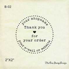 """custom rubber stamp or selinking stamp-  2"""" x2"""" -  Custom Thank You Stamp - thank you for your order-business stamp-custom logo stamp"""