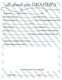 All About Grandpa and All About Dad Questionaires