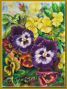 Step 7 of colorful pansies watercolor painting demonstration