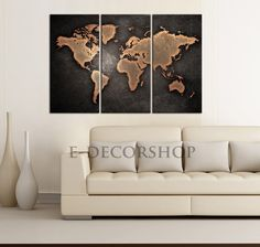 Animal world map canvas prints for kids room world map canvas world map canvas print ready to hang 3 panels by edecorshop gumiabroncs Image collections