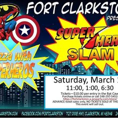 "Calling all superheros big and little! Fort Clarkston will be ready for anything ""evil"" when a bunch of superheros swoop in for heroic adventures on Saturday, March 18! Tickets are $10 and include pizza and pop. You can buy tickets online at https://fortclarkston.a.pcsparty.com/store/  or in person at the Fort. Print your online receipt as your ticket.   Bat Cave entry times are 11:00am, 1:00pm, and 6:30pm.   No tickets sold at the door the day of the event.   This event will sell out."