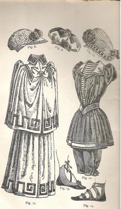"""1892. fig. 11: """"Cloak (...) to conceal the bathing dress when walking down to the beach.This model is of bath toweling trimmed with a Greek key pattern of navy blue braid, collar of blue linen."""" Figure 12 is a """"bathing dress of of red serge trimmed with rows of white braid. Vest of white serge trimed with red braid.  Sailor collar of the same with anchors embroidered in the corners.  A thick cord is passed under the collar and knotted in front."""""""