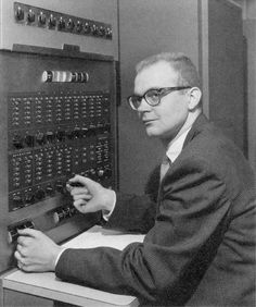 A young Donald Knuth, at his first IBM 650 computer. (Circa1958) Knuth is a Stanford Engineering Professor Emeritus.