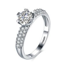Romantic 18K Platinum Plated Costume Zircon Ring